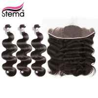 Stema Hair Brazilian Body Wave Bundles With Frontal Closure Pre Plucked 13x4 Ear To Ear Lace Frontal Closure With Bundles Remy