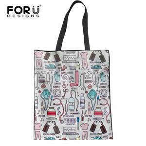 c25889d675 FORUDESIGNS Canvas Shopping Bag Reusable Folded Tote Bags