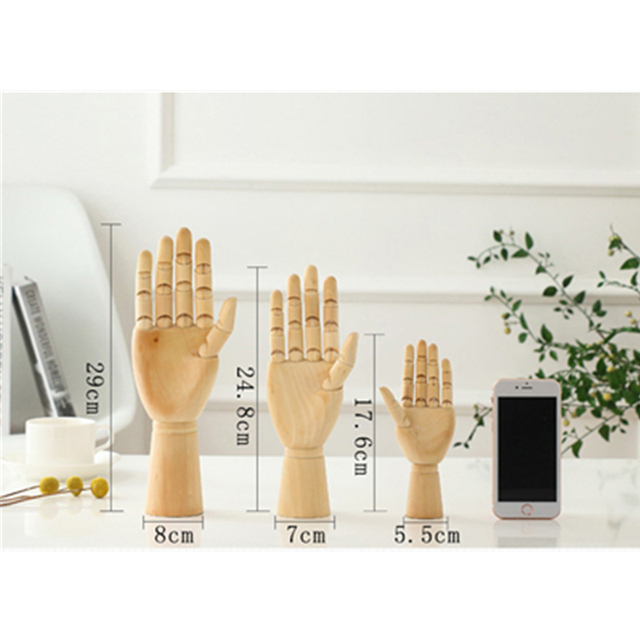 VILEAD 8 Size Wood Hand Wooden Man Figurines Rotatable Joint Hand Model Mannequin Artist Miniatures Wooden Decoration Home Decor 6
