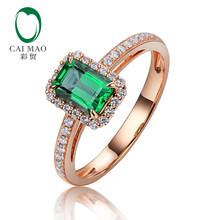 Caimao 14k Rose Gold Halo Diamond Ring 0.74ct Natural Green Emerald Engagement Jewelry for Women
