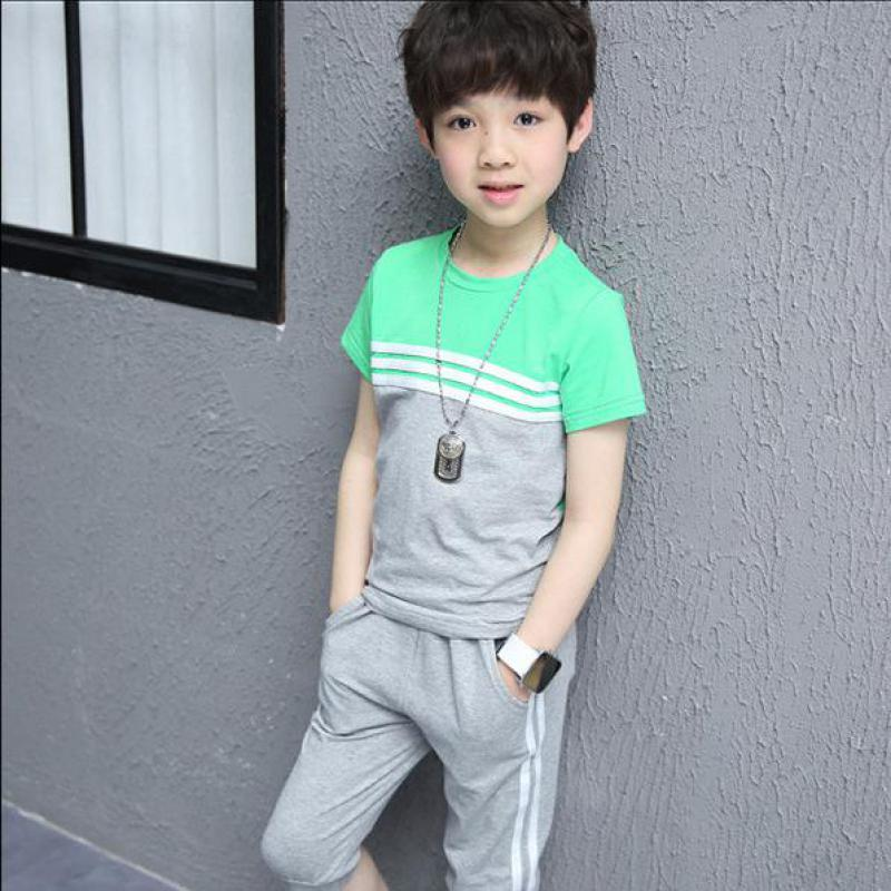 2017 new summer boys Girls Kid Cotton T-shirt + Pant,2pcs Sports Suits comfortable cute baby Clothes Children Clothing
