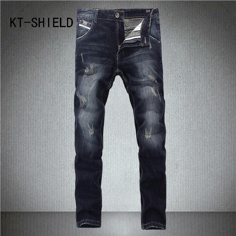 Big size ripped Distressed Mens biker jeans brand clothing Casual pants Straight denim trousers Fashion Slim fit vaqueros hombre mens casual elastic ripped drape denim hip hop slim fit distressed biker jeans pants black straight pencil trousers multi zipper