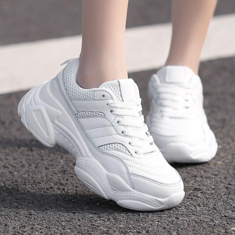 2019 Ins offre spéciale automne mode femmes chaussures décontractées en cuir plate-forme chaussures femmes baskets dames blanc formateurs Chaussure Femme