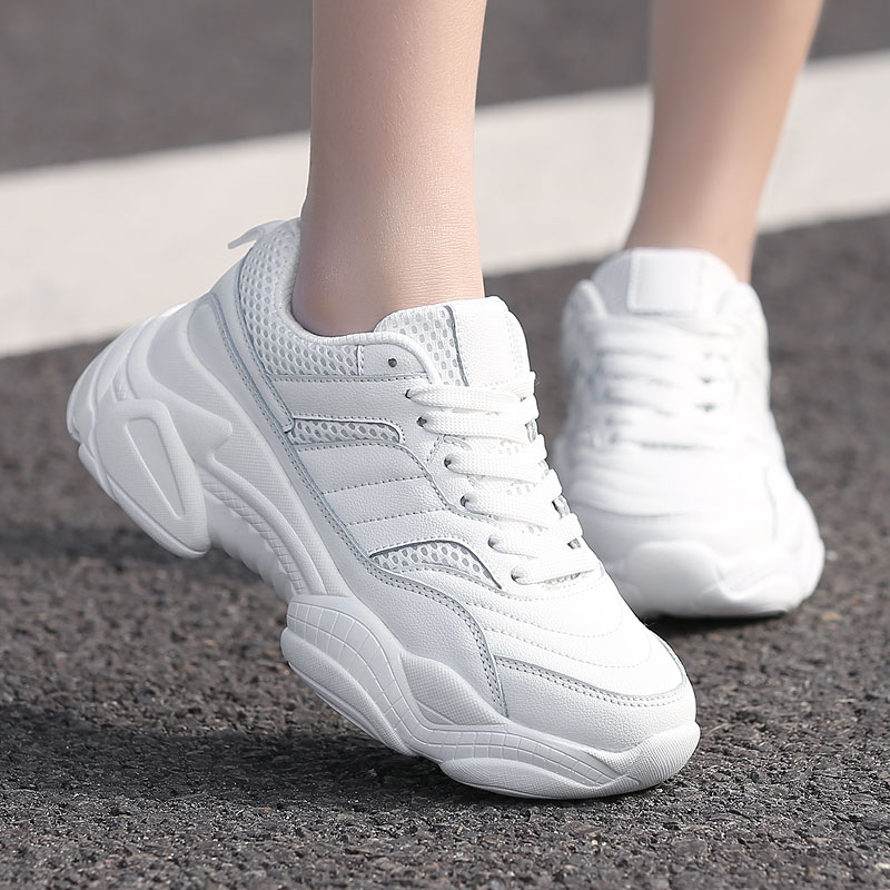 2019 Ins/Лидер продаж; Осенняя модная женская повседневная обувь; кожаная обувь на платформе; женские кроссовки; Женская Белая обувь инструкторов; Femme