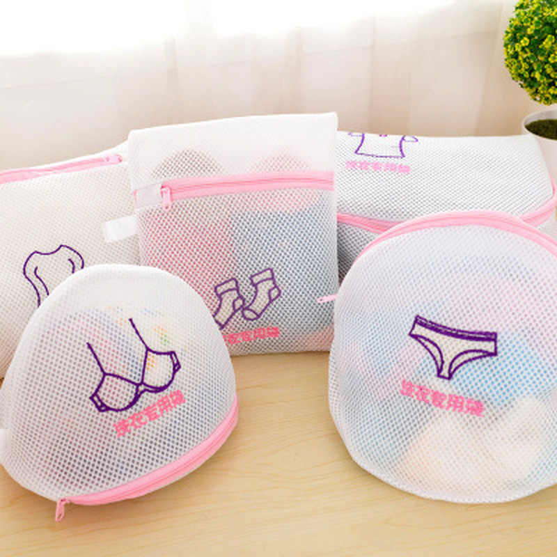 Laundry Storage Embroidered Wash Clothes Laundry Bag Set Sandwich Material Underwear Bra Sock Sleeve Care Bag