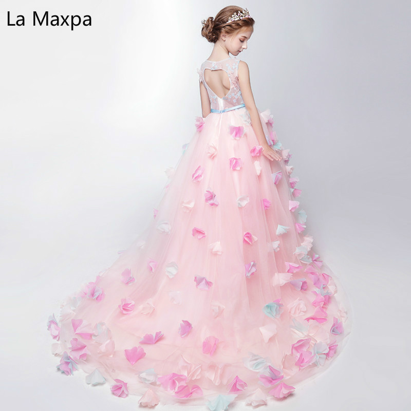 Fahion New Princess Dress Girls Dress Costume Catwalk Piano Children Wedding Flower Pink Birthday Party Dress 2018 children s catwalk tail dress large children s flower princess sequin embroidered children s dress