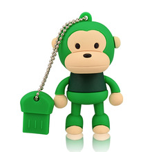 J-boxing Green 64GB USB Flash Drive Funny Monkey Design Pendrive Memory Stick Women 16G 32GB Thumb for Computer Mac Tablet
