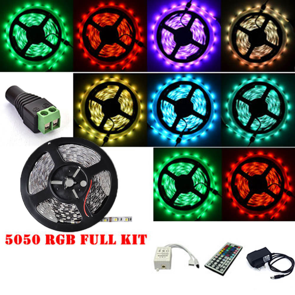 RGB LED Strip Light 12V 5M SMD5050 Diode Tape Flexible Lights With 12V Power Adapter RF Remote Controller Bar counter decoration