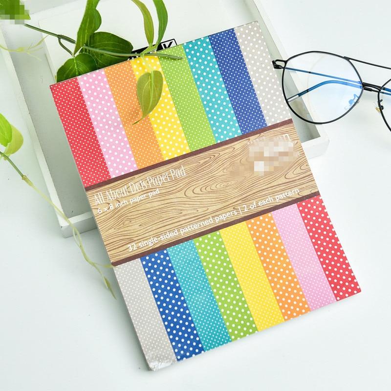 KLJUYP 32sheets/lot Single-side Printed Creative Dots/Plaid Paper Pad Papercraft Art Paper Handmade Scrapbooking Kit Set Books 2