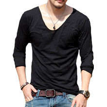 2017 NEW Men Deep V-neck Long Sleeve Fitness T-Shirt Solid Undershirt