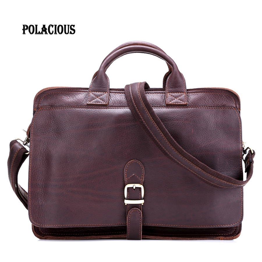 2016 New Fashion men's Briefcase Genuine leather Business Shoulder Bags Quality Stylish Brand Handbags Brand Tote Bag for MS8032