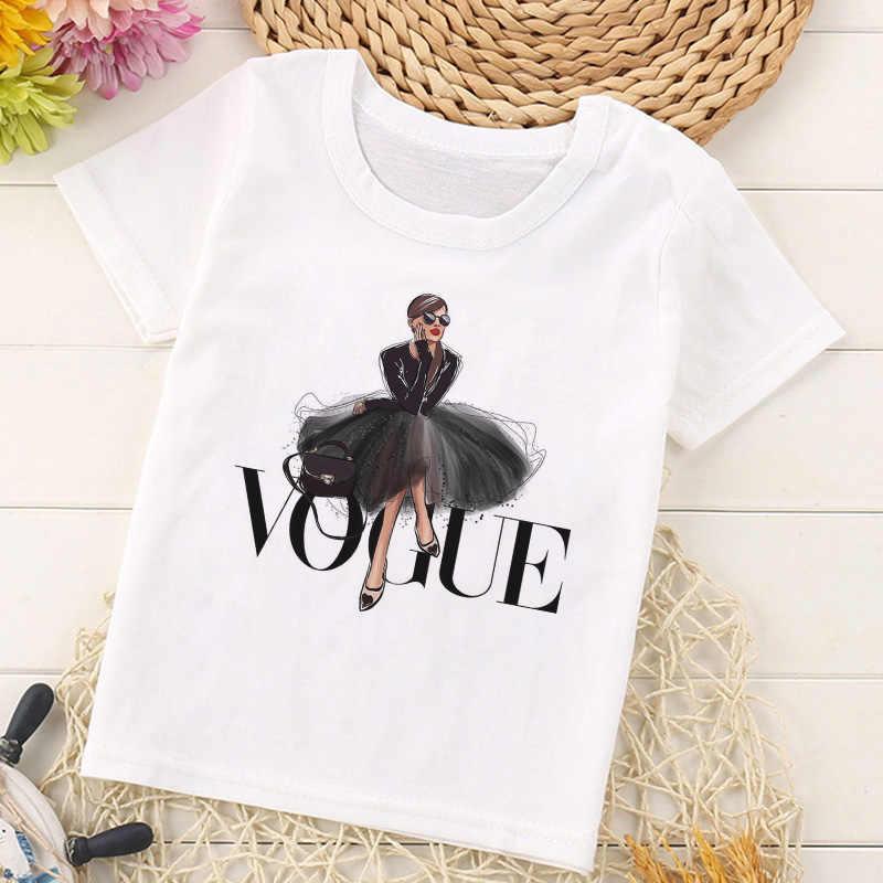 Летняя модная футболка принцессы с принтом детская забавная футболка с рисунком каваи белая футболка с круглым вырезом и короткими рукавами для мальчиков и девочек