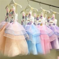 Retail 2018 Girls summer flower princess dress dress , summer dress girl , girls summer clothing LJJ01