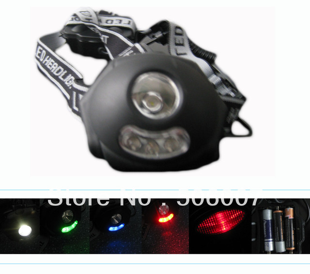 High Power With 1W,4 Led,Colorful Led Headlight,Led Headlamp,Front Light With Caution light