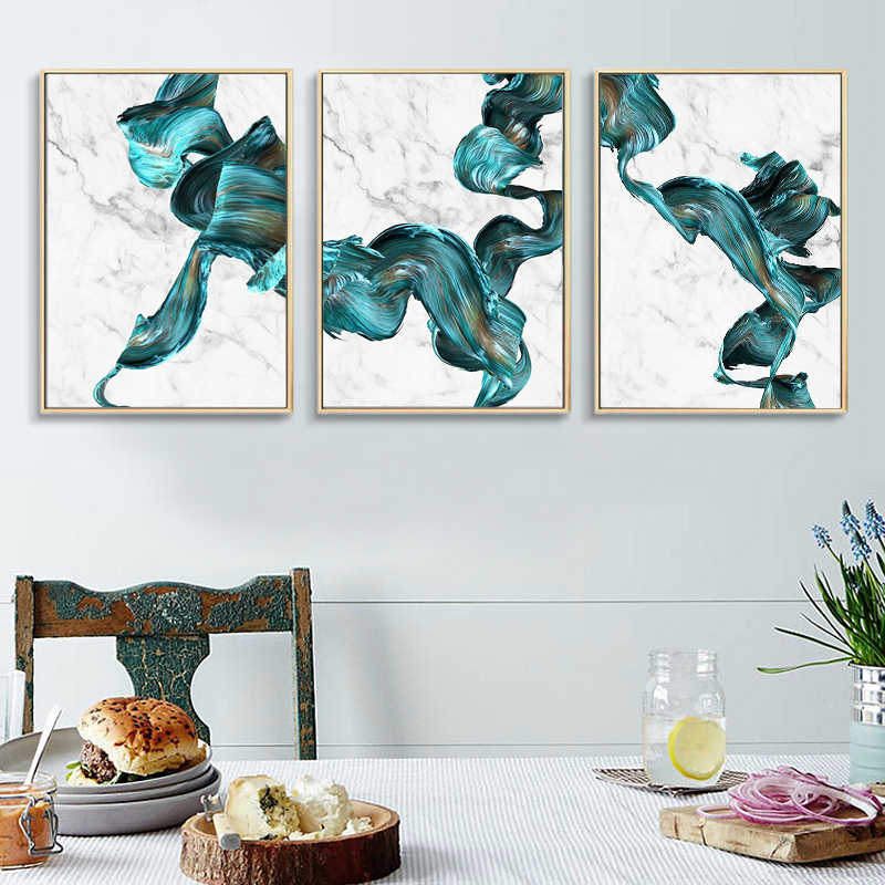Marble Abstract Print Wall Art Canvas Painting Modern Green and White Posters Turquoise Home Decor Living Room Decoration