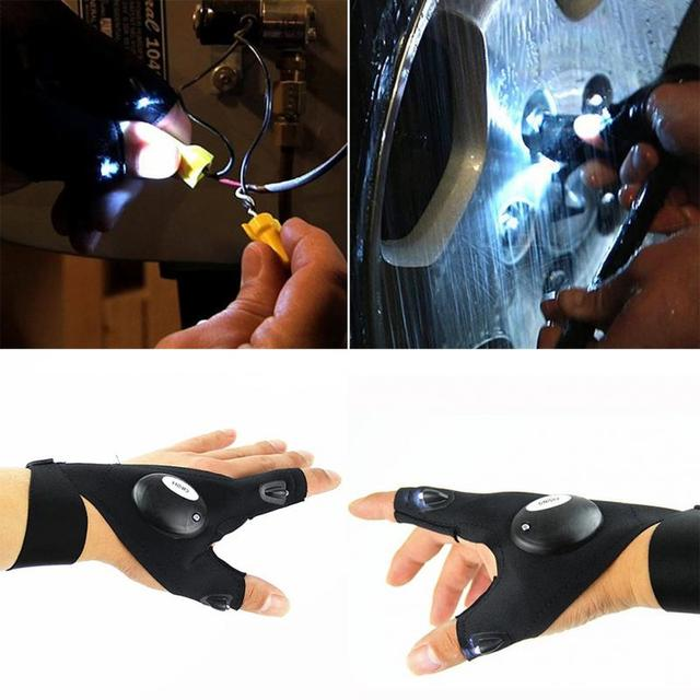 Black Outdoor Fishing Magic Strap Fingerless Glove LED Flashlight Torch