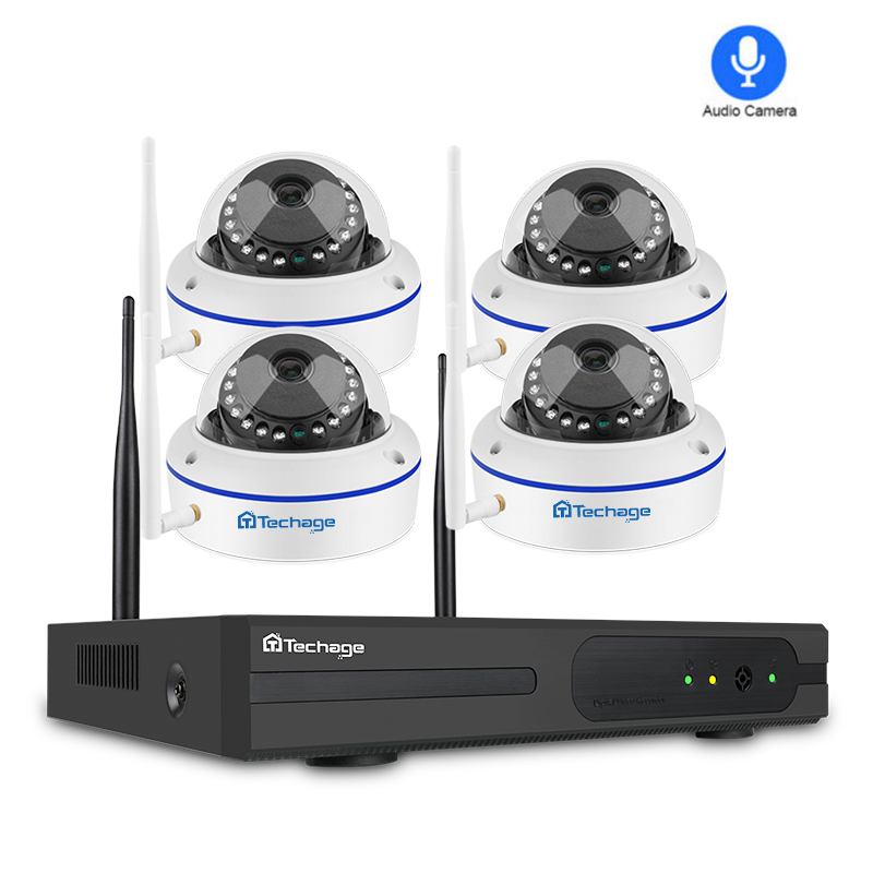 Techage 4CH 1080P Wireless NVR Kit Security Camera System 2MP Wifi Audio Sound CCTV Dome Indoor