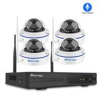 Techage 4CH 1080P Wireless NVR Kit Security IP Camera System 2MP Wifi Audio Sound CCTV Dome Indoor Camera CCTV Surveillance Set