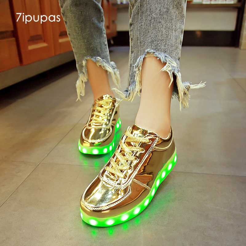 7ipupas Gold Led Luminous Sneakers Children High-quality Casual Light Up Shoes For Kids Tenis Basket Chaussures Glowing Sneakers