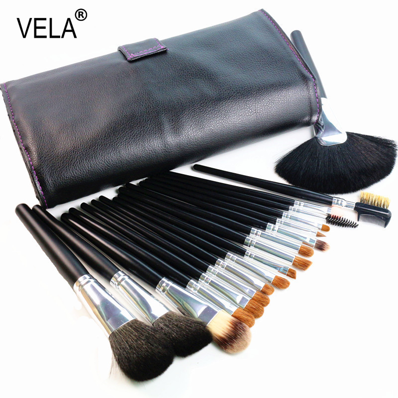 High Quality Makeup Brushes Set 18pcs Nature Hair Makeup Tools Kit with PU Case soft synthetic makeup brushes set 12 pieces makeup tools kit pink with case