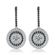 Классические серебряные ювелирные изделия из натуральной 925 пробы, свадебные круглые серьги-гвоздики для женщин, черные и белые женские серьги, бижутерия T005