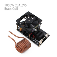 1000W 20A ZVS Induction Heating Machine Cooling Fan PCB Copper Tube 12 36V With Brass Coil