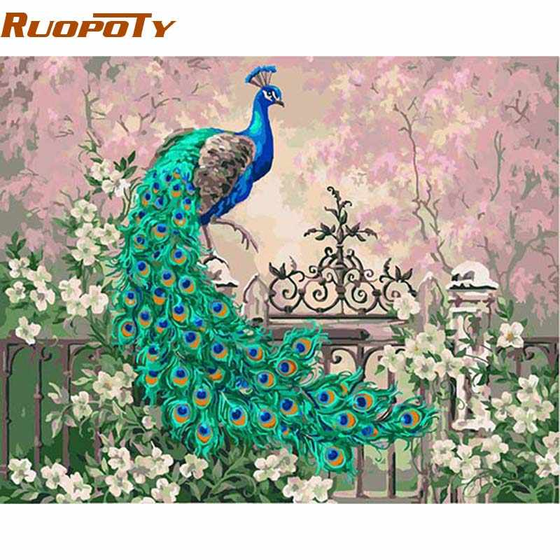 RUOPOTY  diy frame Peacock DIY Painting By Numbers Vintage Painting Home Wall Artwork Unique Gift For Living Room Decor 40x50cm