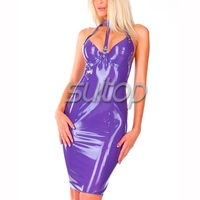 Suitop purple latex dresses for women sexy latex fashion sexy rubber club wearing