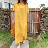 New Casual Women Long dress Loose Solid Short Sleeve V Neck Wind Japanese Dresses Khaki Yellow 0098