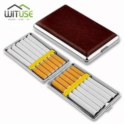 Trzymaj 12 14 16 18 20 palacz papierośnica z pudełkiem klasyczny skórzany stop i PU papierośnica palenia tytoniu Case dla mężczyzn