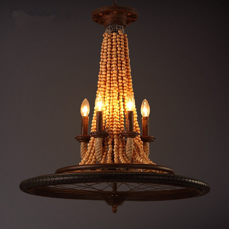 wood bead chandelier - Wood Bead Chandelier