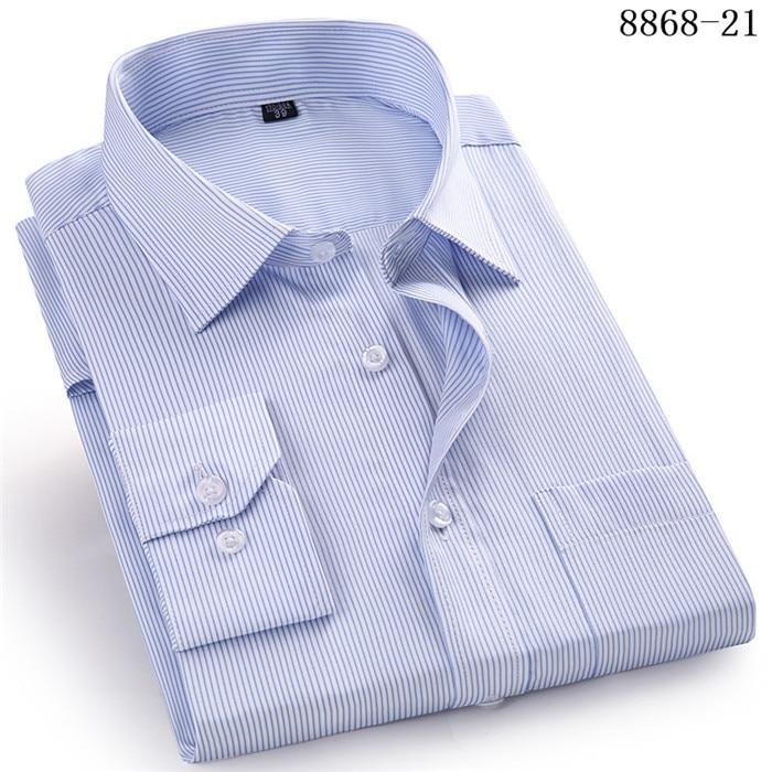 4XL 5XL 6XL 7XL 8XL Large Size Men's Business Casual Long Sleeved Shirt White Blue Black Smart Male Social Dress Shirt Plus 9