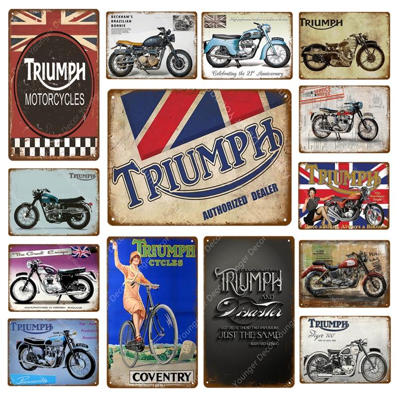 Triumph Motorcycles Serviços de Reparos de Bicicletas de Ciclos de Sinais De Metal Pendurar Na Parede Cartaz Pub Bar Garagem Decoração Artesanato de Decoração Para Casa