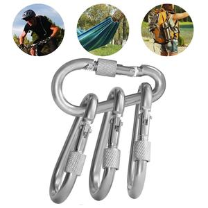 Image 5 - 10 pcs 5x50mm Stainless Steel 304 Carabiner Hooks with Heavy Duty Screw Hammock Locking Solid Shackle Metal Quick Link Clips