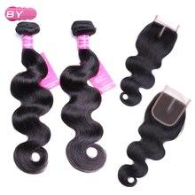Перуанские Человеческие волосы Для тела волна 3 Связки с 4×4 средняя часть Синтетическое закрытие шнурка волос 1B # Цвет non-реми хай для салона Наращивание волос