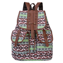 купить High Quality Vintage Print Canvas Ethnic Backpack for Women Girls School Backpacks Drawstring Bohemia Travel Rucksack в интернет-магазине