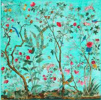 130cm 130cmVintage Brand Silk Scarf Singing Birds Fragrant Flowers Print Scarf For Women Headband Twill Large