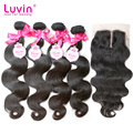 Luvin Hair Products Brazilian Hair Weave Bundles With Closure 5 BundlesLot Brazilian Body Wave Hair Bundles Shipping Free By DHL