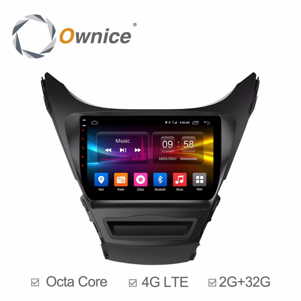 4G SIM LTE Android 6.0 Octa Core 2GB RAM+32GB ROM 9 inch Car DVD Player for Hyundai Avante 2012-2016 GPS Navi Radio Stereo TPMS