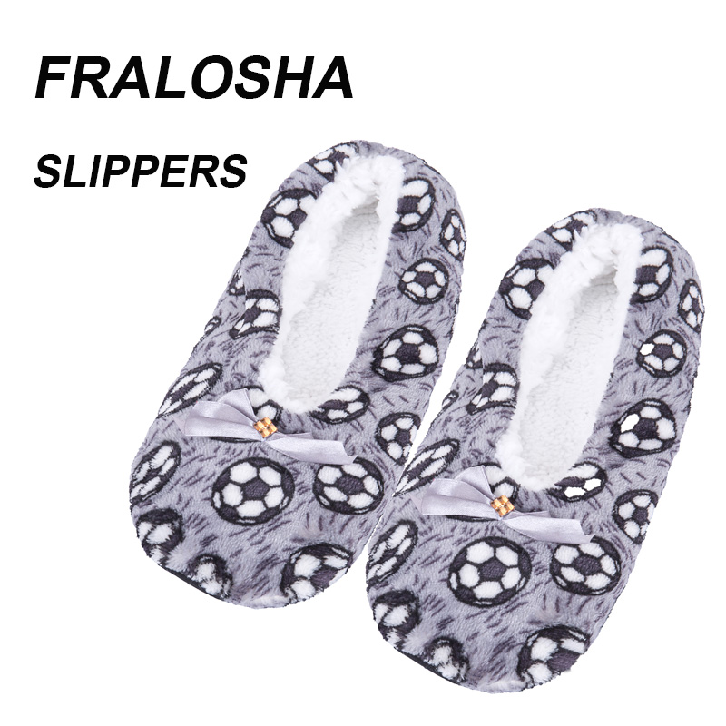 (Ship from US)FRALOSHA football pattern home women Shoes cotton wool plush floor shoes non-slip indoor shoes women's slippers цена