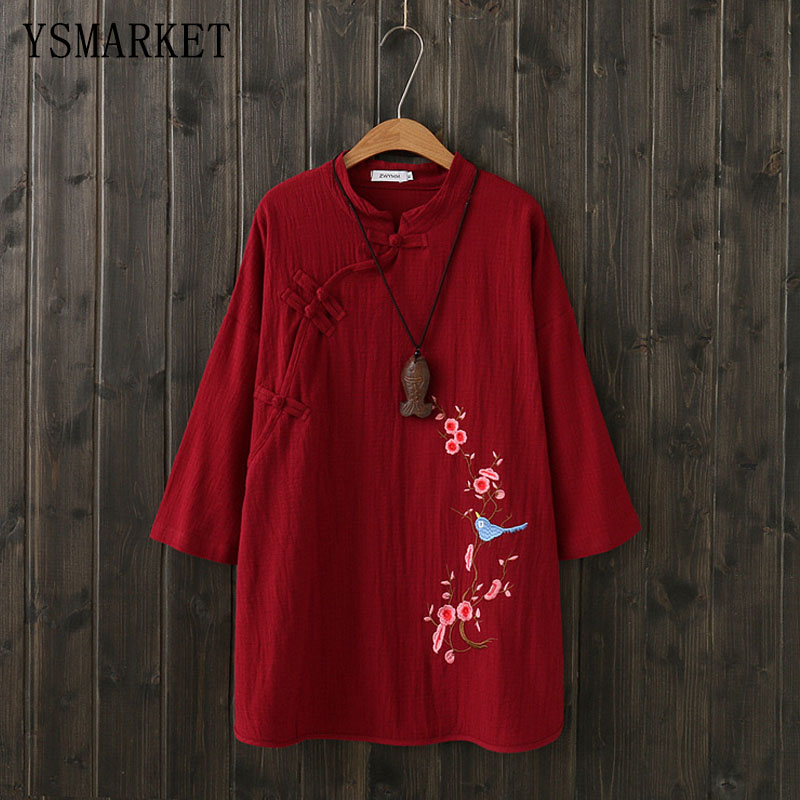 86ed7bbc73340b Detail Feedback Questions about Women Vintage T Shirts Coton Linen Fabric  National Style Pankou Embroidered Long Tops Autumn Clothes Speaker Three  Quarter ...