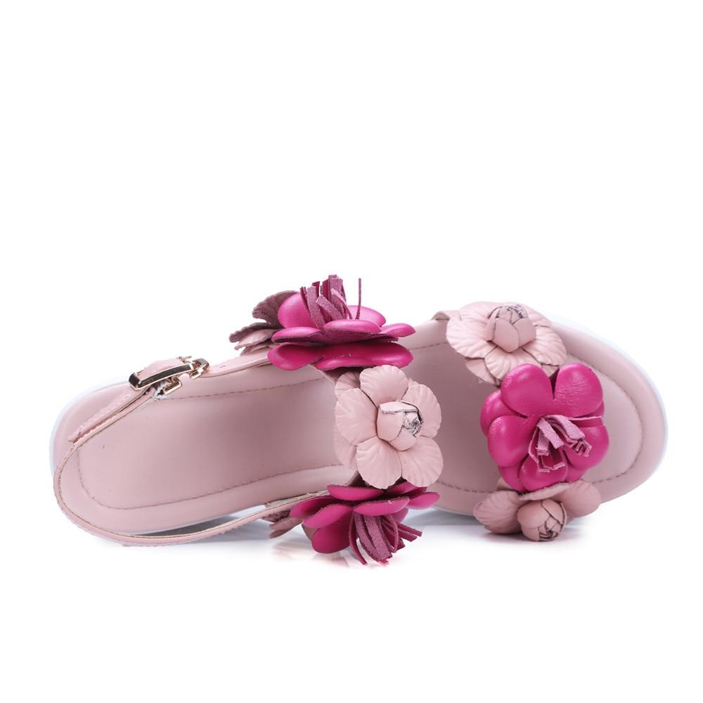 Bianchi Della Delle Dolci Estate Rosa Genuino Rosa I bianco Pattini Di Sandali Colore Piattaforma Scarpe Fibbia Fiori Asumer Modo Donna La Signore Incunea Per Cuoio 0nEv06F