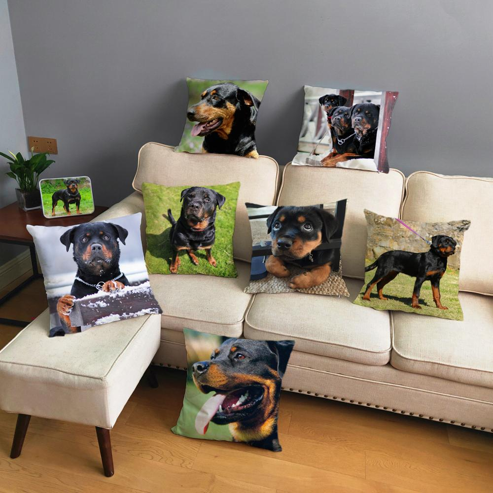 Germany Loyalty Rottweiler Dog Pillow Cover 45*45cm Cushion Covers Short Plush Pillow Case Car Sofa Home Decor Pet Pillows Cases