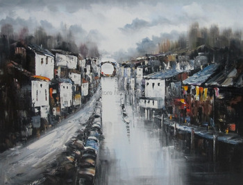 Handmade oil painting on canvas watery city painting for wall decoration