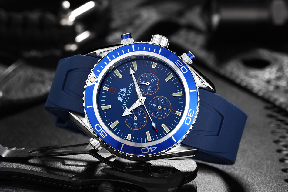 HTB1Zp.ajdzJ8KJjSspkq6zF7VXaD Men Automatic Self Wind Mechanical Stainless Steel Strap James Bond 007 Style Orange Blue Black Dial Bezel Classic Watch