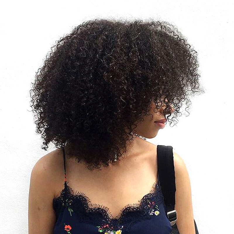 Mongolian Afro Kinky Curly Weave Human Hair Extensions Honey Queen Hair Products Non Remy Natural Color Hair Weaving Bundles
