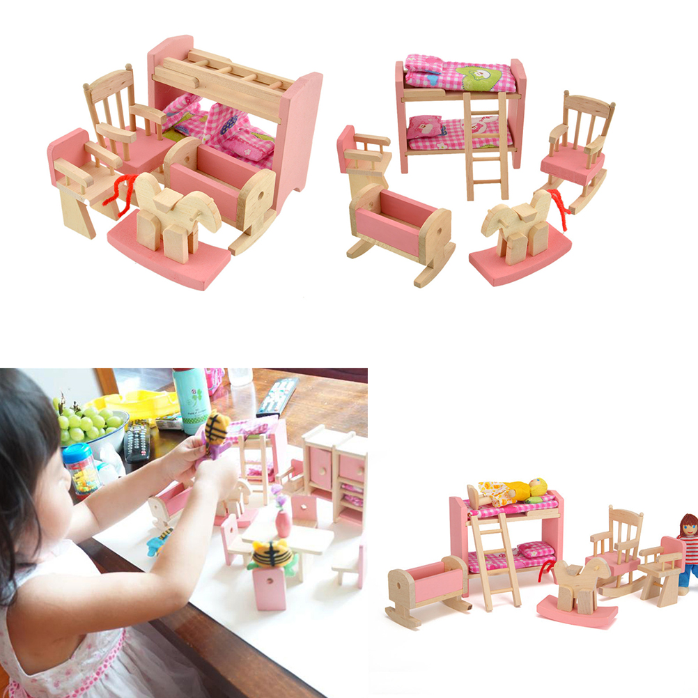 1 Set Wooden Baby Toys Gift Wooden Doll Bunk Bed Set Furniture Dollhouse Miniature For Kids