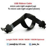 70CM 80CM 90CM 100CM nuevo Flexible Micro cable USB de datos micro up ángulo macho a micro abajo adaptador en ángulo