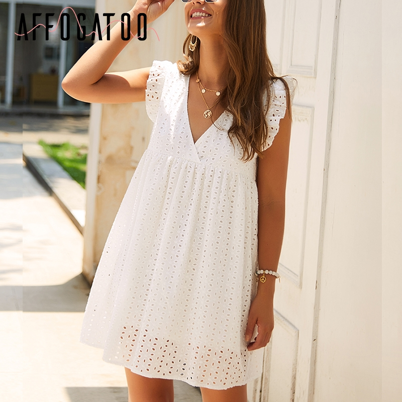 Affogatoo Elegant V Neck Ruffle Embroidery Cotton White Dress Women Lace Short Female Vestidos Holiday Summer Plus Size Dresses