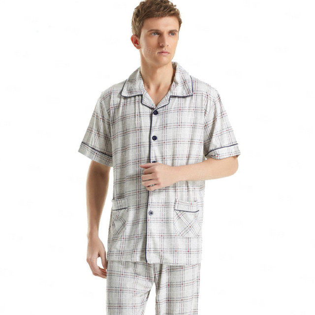 Discount !Short-Sleeved Men's Sleepwear ClassicStriped Pajama Sets Plus Size Cotton Pyjamas Men's Sleep&Lounge Sexy Men Homewear